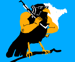 Buff Bird with gun