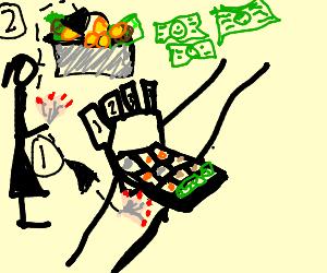 Robbing a cash register.