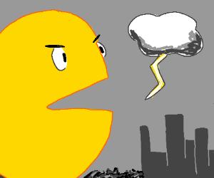Pacman terrorizes a town