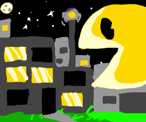 pacman eating a city