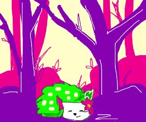 Shaymin Sleeping in a Lush Purple Forest