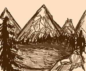 Beautiful Mountain, Reflecting Onto a Lake