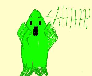 scared fish man