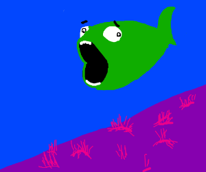 green fish is scared