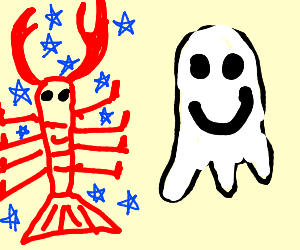 galaxy lobster with a happy ghost