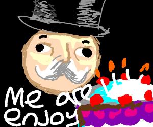 monopoly guy enjoying cake