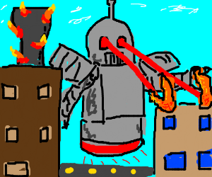 Giant robot destroying city with lazer eyes