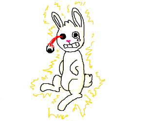 Rabbit gets electrocuted and his eye pops out