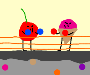 a cherry and ice cream in a boxing match