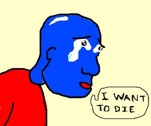 Sad bald blue boy wants to die