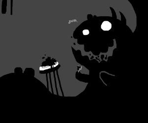 Giant shadow creature devours something