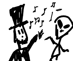 Abraham Lincoln sings with an alien