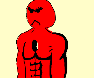 Red angry man with a hole in his chest
