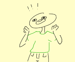 Suprised guy in a green shirt