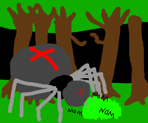 a giant spider in a forest eating a bush
