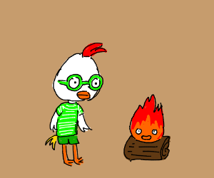 Chicken little next to a fire that is alive
