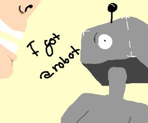 Happy person gets robot