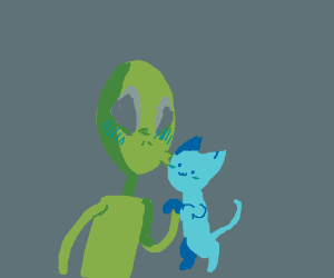 Alien kisses blue cat