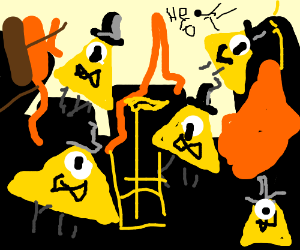 bill cipher's clones are destroying buildings