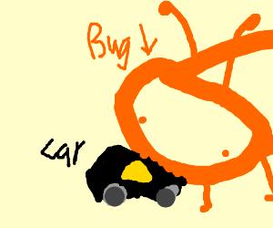 big orange bug eats a black car