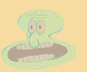 weird giant mouthed squidward