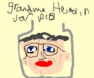 grandma head in jar pio