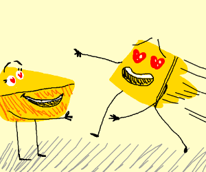 A piece of cheese throws itself to its lover.