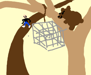 a bear trapping humans