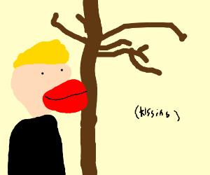 Jazza wants to kiss the tree