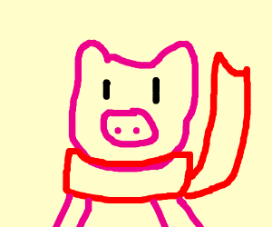 Pig in red scarf