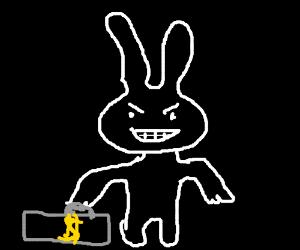 white rabbit with monez
