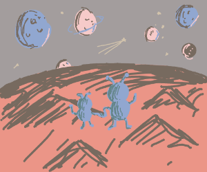 Alien landscape with nearby planets in the sky