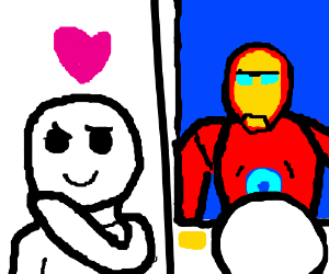 person admiring a drawing of iron-man