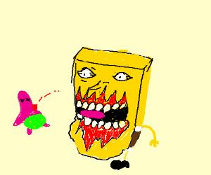 Patrick star is dead and spongebob eats him.