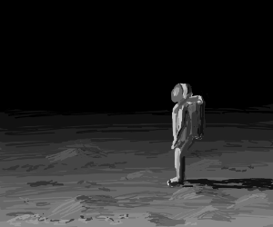 Astronaut stands complatively on the moon