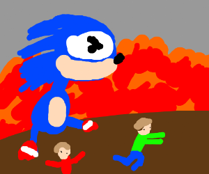 people running away from sonic