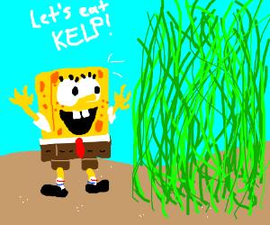 Spongebob about to eat kelp