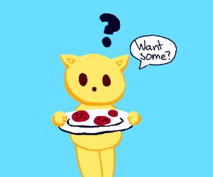 Cute cat offering cookies