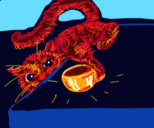 a cat stealing a golden cup