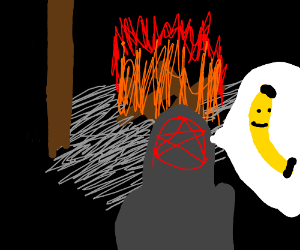 fire cultist thinks of a happy banana