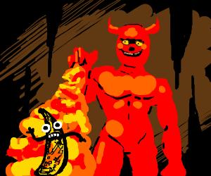 Satanist burns a living banana.