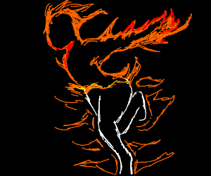 Person evolving into flames