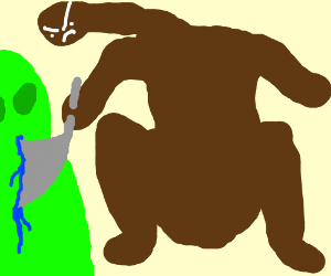 A nacked black man slitting an alien's throat
