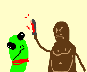 a cryptid decapitates an alien