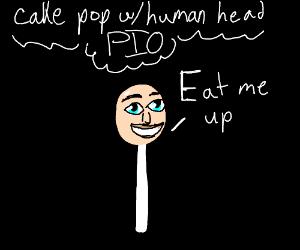 Cake Pop human head w/green hair (PIO)