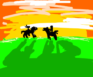 two people riding horses together