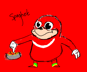ugandan knuckles touches spaghet