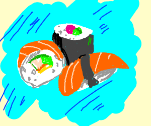 A really DELICIOUS looking close up of sushi!