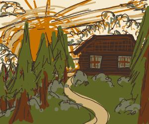 Log cabin sillouette