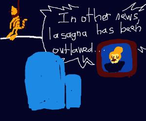no lasagna, garfield proceeds to hang himself